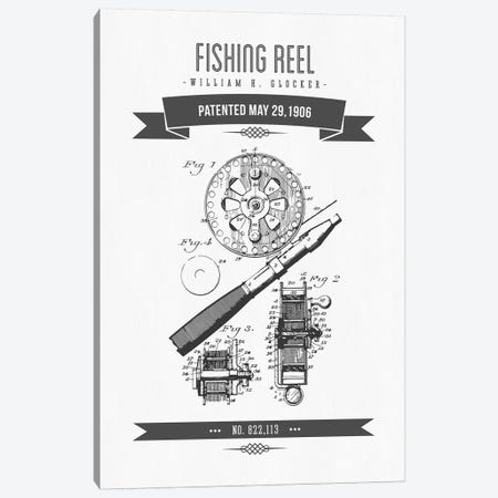 W.H. Glocker Fishing Reel Patent Sketch Retro (Charcoal) Canvas Print #ADP3142} by Aged Pixel Canvas Artwork