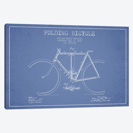 W.H. Percival Folding Bicycle Patent Sketch (Light Blue) Canvas Print #ADP3143} by Aged Pixel Canvas Artwork