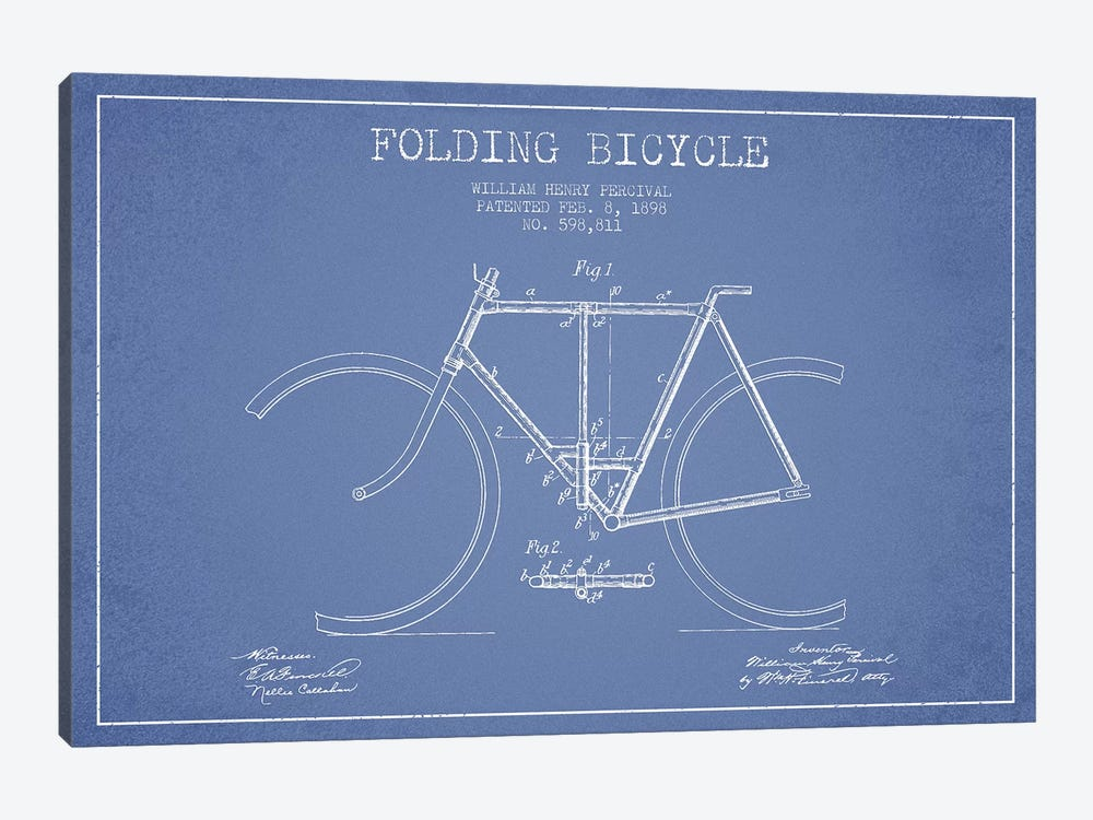 W.H. Percival Folding Bicycle Patent Sketch (Light Blue) by Aged Pixel 1-piece Canvas Art
