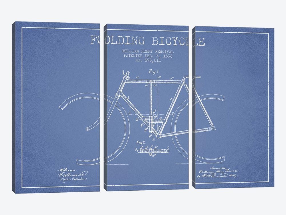 W.H. Percival Folding Bicycle Patent Sketch (Light Blue) by Aged Pixel 3-piece Canvas Art