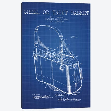 W.L. Marble Trout Basket Patent Sketch (Blue Grid) Canvas Print #ADP3144} by Aged Pixel Art Print