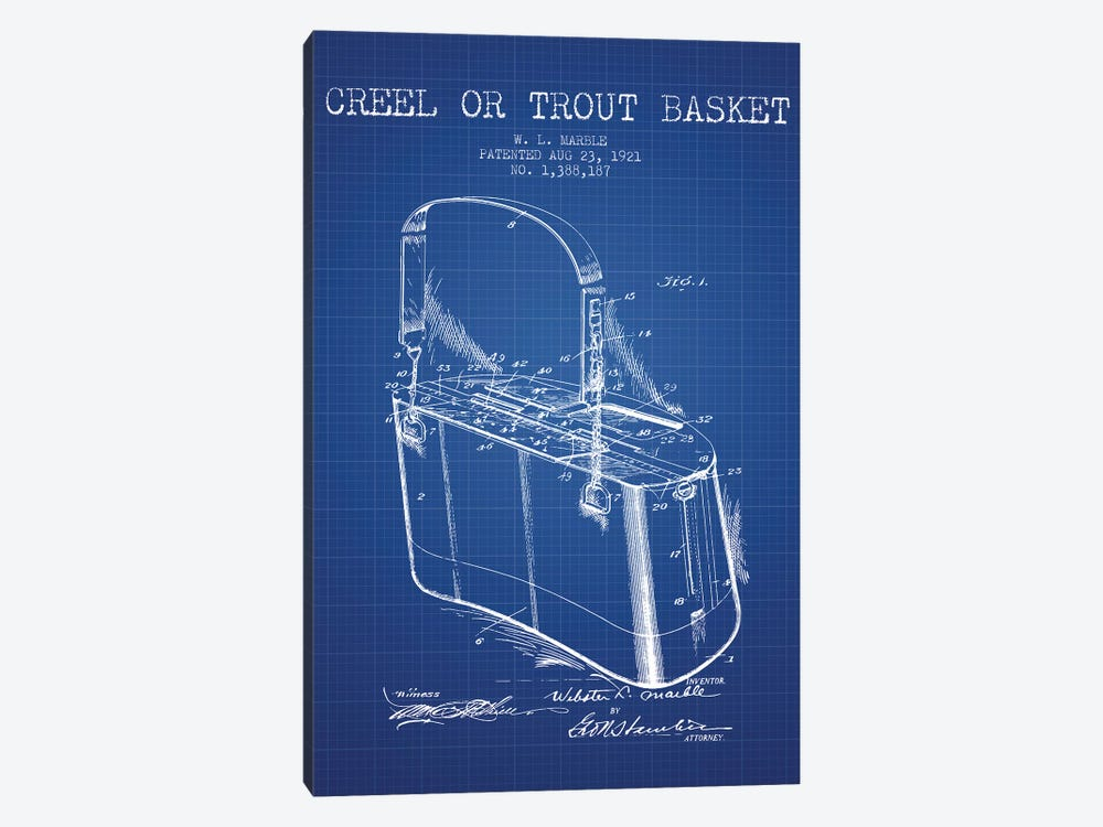 W.L. Marble Trout Basket Patent Sketch (Blue Grid) by Aged Pixel 1-piece Canvas Print