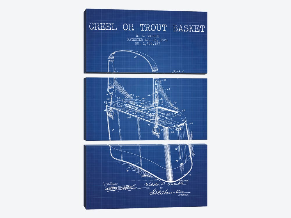 W.L. Marble Trout Basket Patent Sketch (Blue Grid) by Aged Pixel 3-piece Canvas Art Print