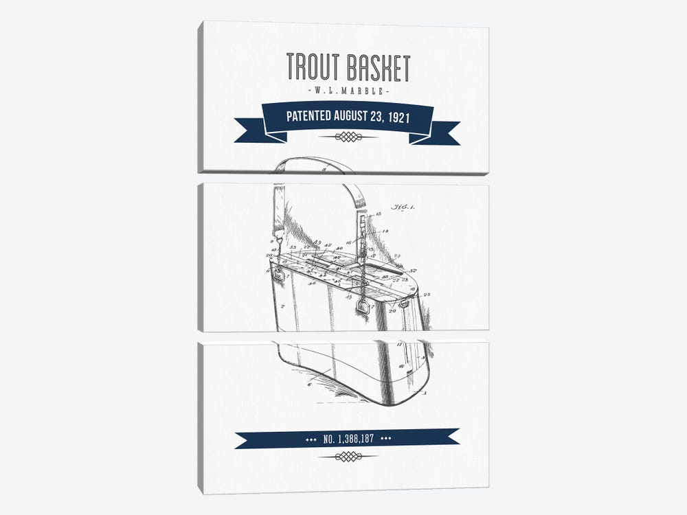 W.L. Marble Trout Basket Patent Sketch (Navy Blue) by Aged Pixel 3-piece Canvas Artwork