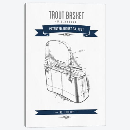 W.L. Marble Trout Basket Patent Sketch (Navy Blue) Canvas Print #ADP3145} by Aged Pixel Canvas Print