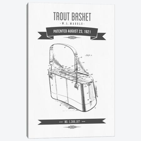 W.L. Marble Trout Basket Patent Sketch Retro (Charcoal) Canvas Print #ADP3146} by Aged Pixel Canvas Print