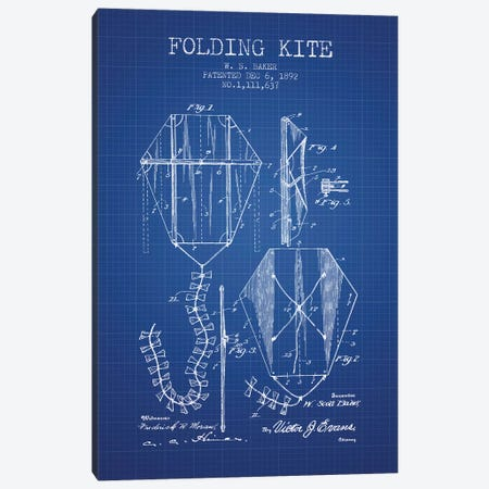W.S. Baker Folding Kite Patent Sketch (Blue Grid) Canvas Print #ADP3147} by Aged Pixel Canvas Print