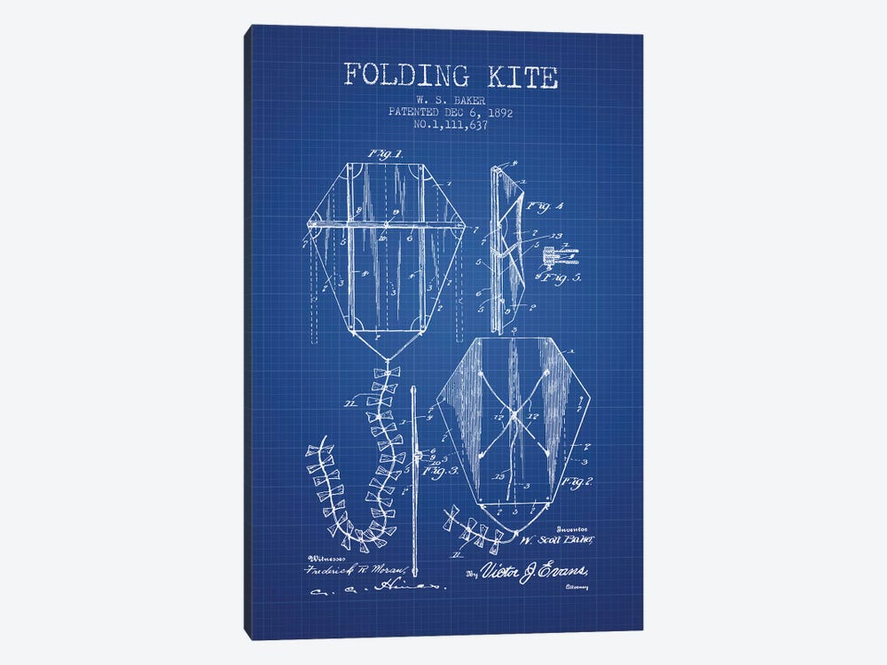W.S. Baker Folding Kite Patent Sketch (Blue Grid) by Aged Pixel 1-piece Canvas Art