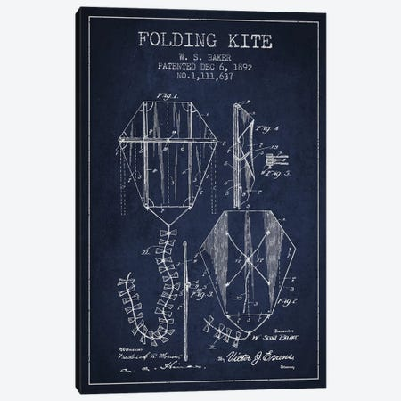 W.S. Baker Folding Kite Patent Sketch (Navy Blue) Canvas Print #ADP3149} by Aged Pixel Canvas Artwork