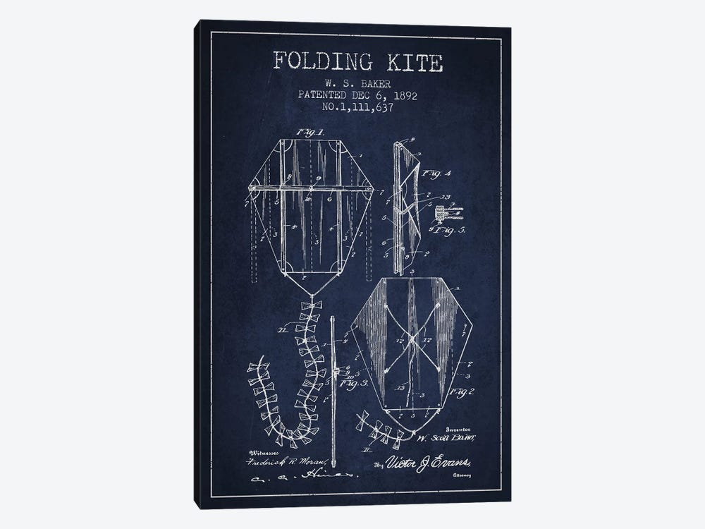 W.S. Baker Folding Kite Patent Sketch (Navy Blue) by Aged Pixel 1-piece Canvas Artwork