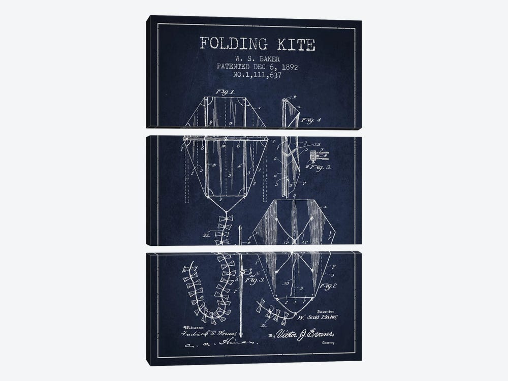 W.S. Baker Folding Kite Patent Sketch (Navy Blue) by Aged Pixel 3-piece Canvas Wall Art