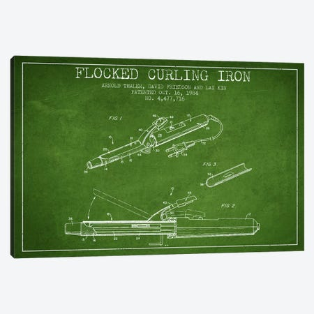 Flocked Curling Iron Green Patent Blueprint Canvas Print #ADP314} by Aged Pixel Canvas Wall Art