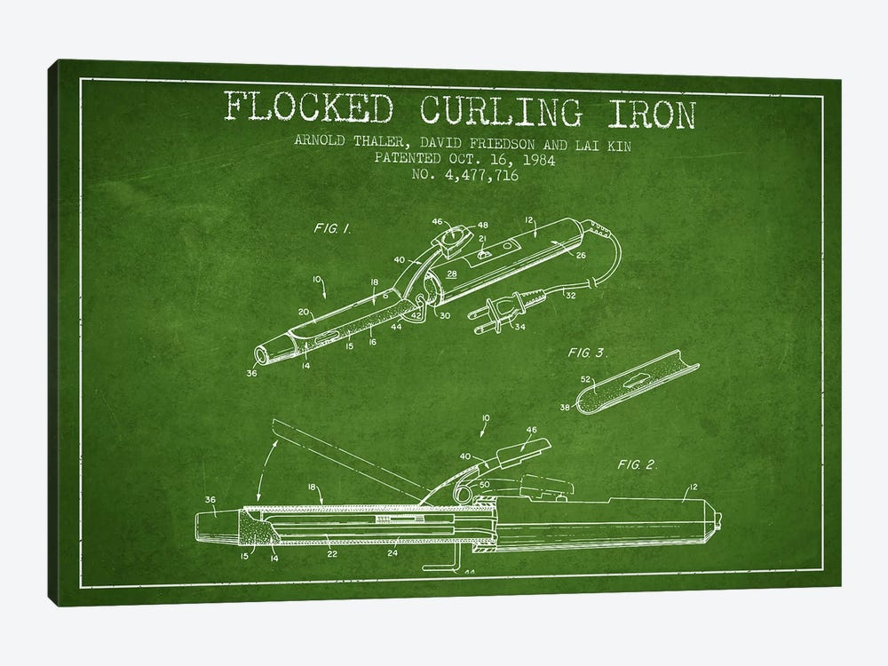 Flocked Curling Iron Green Patent Blueprint by Aged Pixel 1-piece Canvas Wall Art