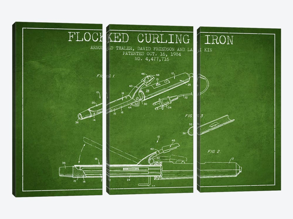 Flocked Curling Iron Green Patent Blueprint by Aged Pixel 3-piece Canvas Artwork