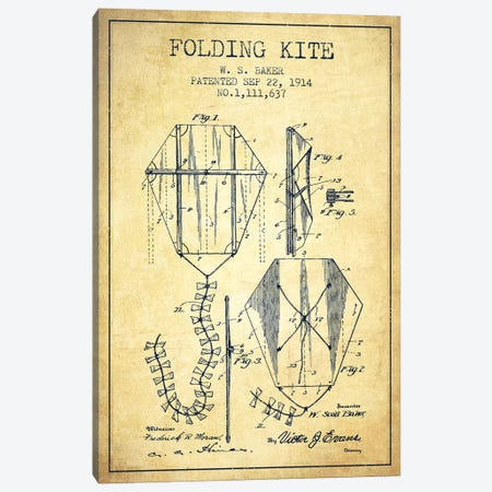 W.S. Baker Folding Kite Patent Sketch (Vintage) Canvas Print #ADP3150} by Aged Pixel Canvas Print