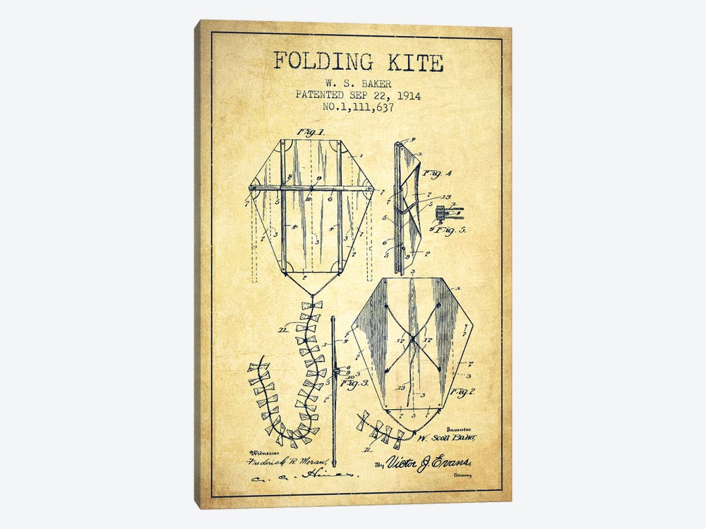 W.S. Baker Folding Kite Patent Sketch (Vintage) by Aged Pixel 1-piece Canvas Artwork