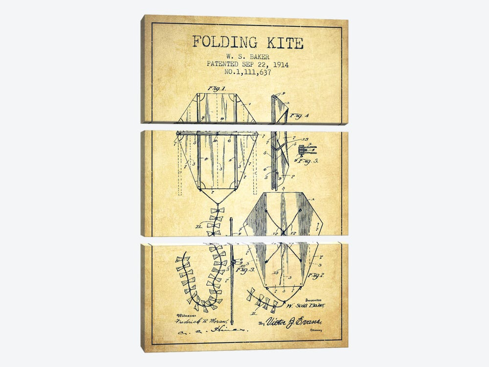W.S. Baker Folding Kite Patent Sketch (Vintage) by Aged Pixel 3-piece Canvas Art