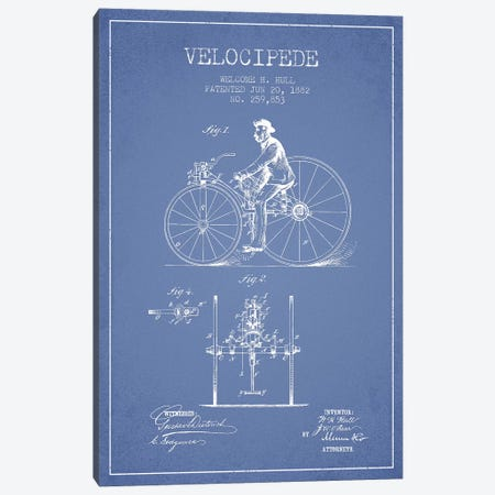 Welcome H. Hull Velocipede Patent Sketch (Light Blue) I Canvas Print #ADP3152} by Aged Pixel Canvas Art Print