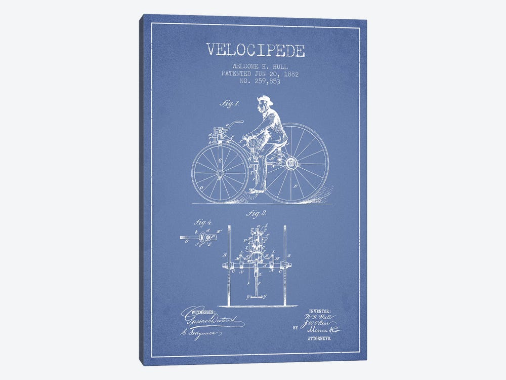 Welcome H. Hull Velocipede Patent Sketch (Light Blue) I by Aged Pixel 1-piece Canvas Wall Art
