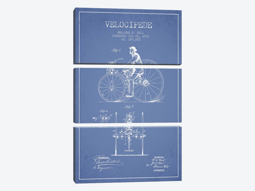 Welcome H. Hull Velocipede Patent Sketch (Light Blue) I by Aged Pixel 3-piece Canvas Wall Art