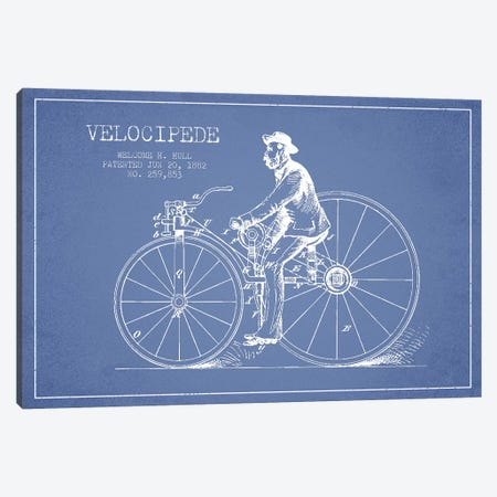 Welcome H. Hull Velocipede Patent Sketch (Light Blue) II Canvas Print #ADP3153} by Aged Pixel Canvas Print