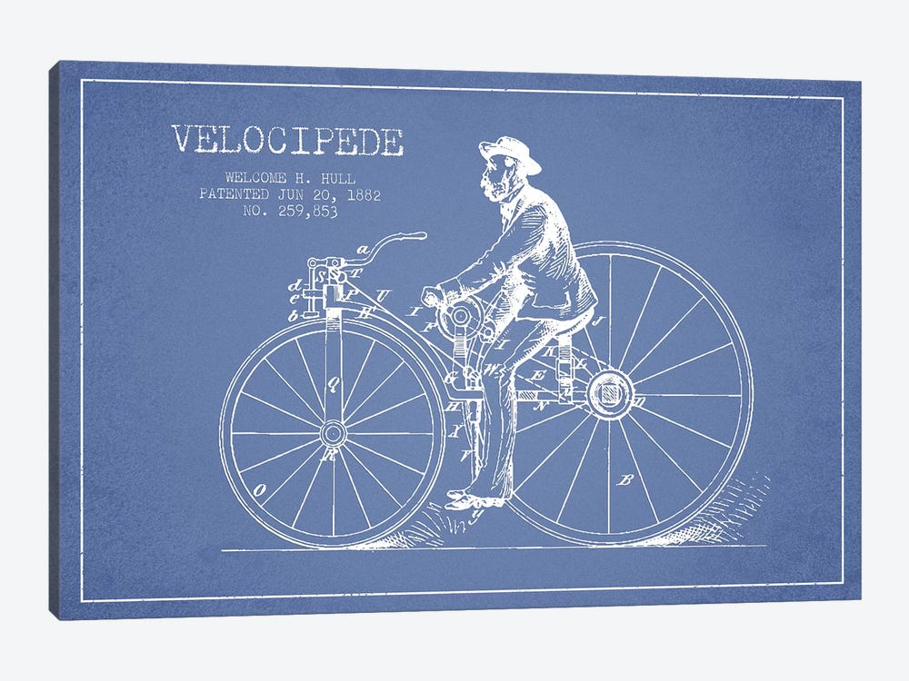Welcome H. Hull Velocipede Patent Sketch (Light Blue) II by Aged Pixel 1-piece Canvas Print