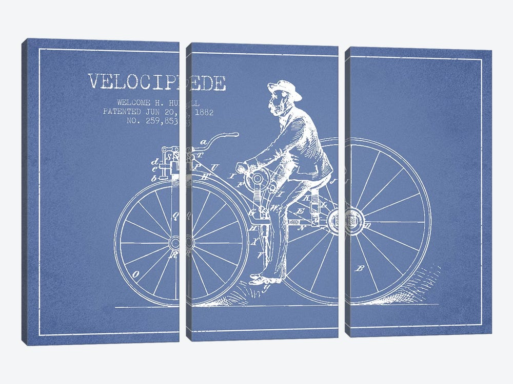 Welcome H. Hull Velocipede Patent Sketch (Light Blue) II by Aged Pixel 3-piece Canvas Print