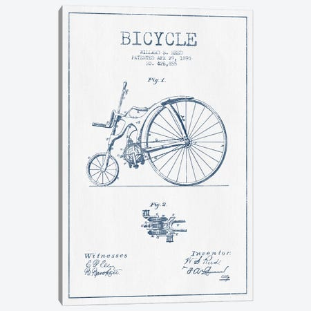 Willard S. Reed Bicycle Patent Sketch (Ink) Canvas Print #ADP3155} by Aged Pixel Canvas Wall Art