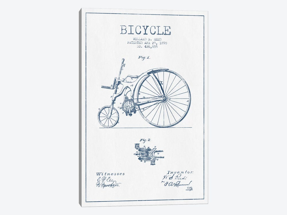 Willard S. Reed Bicycle Patent Sketch (Ink) by Aged Pixel 1-piece Art Print