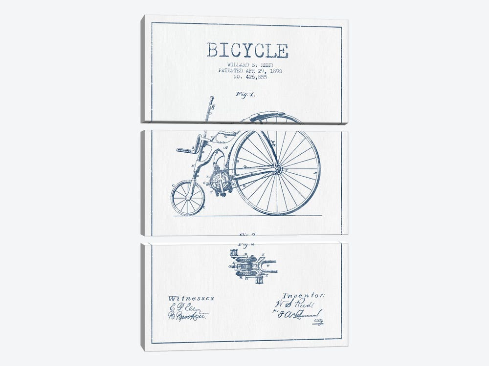 Willard S. Reed Bicycle Patent Sketch (Ink) by Aged Pixel 3-piece Canvas Print