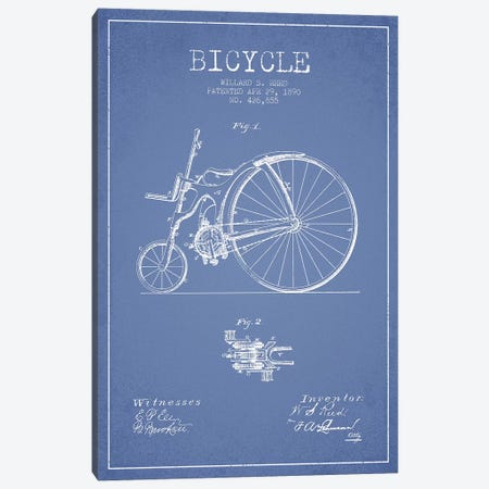 Willard S. Reed Bicycle Patent Sketch (Light Blue) Canvas Print #ADP3156} by Aged Pixel Canvas Art
