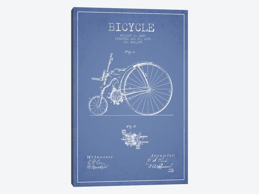Willard S. Reed Bicycle Patent Sketch (Light Blue) by Aged Pixel 1-piece Canvas Wall Art