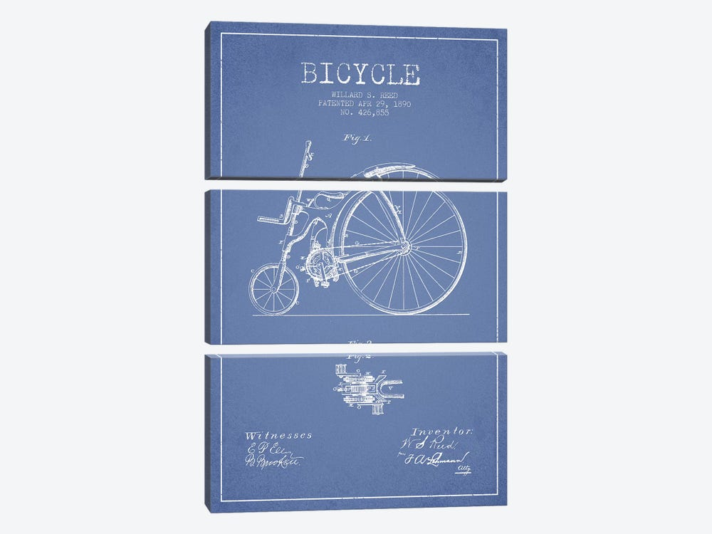 Willard S. Reed Bicycle Patent Sketch (Light Blue) by Aged Pixel 3-piece Canvas Art