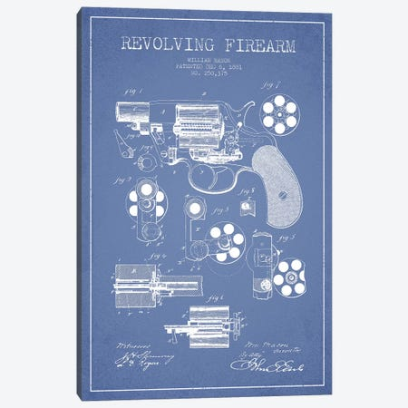 William Mason Revolving Firearm Patent Sketch (Light Blue) Canvas Print #ADP3158} by Aged Pixel Canvas Print