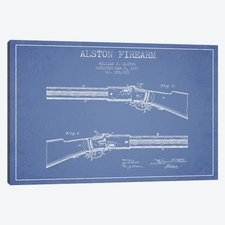William P. Alston Firearm Patent Sketch (Light Blue) Canvas Print #ADP3159} by Aged Pixel Canvas Art Print