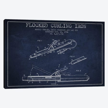Flocked Curling Iron Navy Blue Patent Blueprint Canvas Print #ADP315} by Aged Pixel Canvas Wall Art