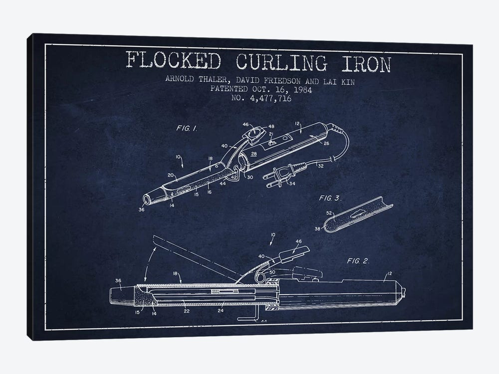 Flocked Curling Iron Navy Blue Patent Blueprint by Aged Pixel 1-piece Canvas Print