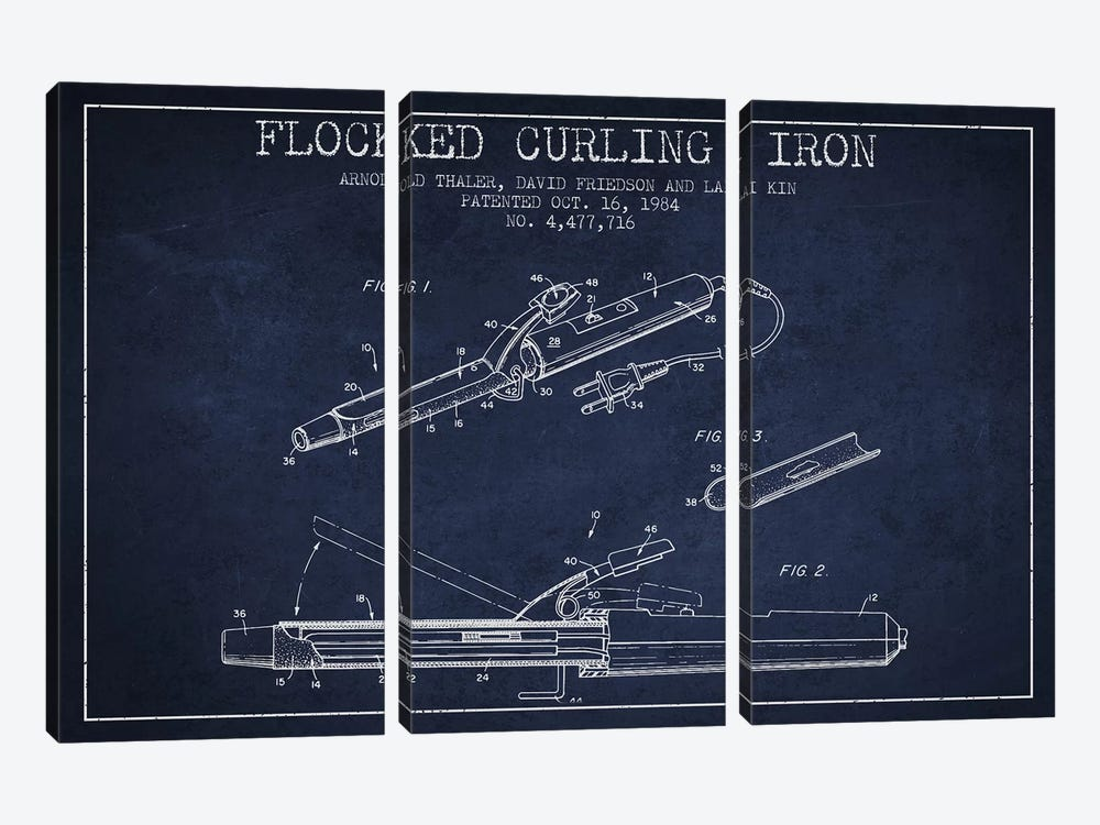 Flocked Curling Iron Navy Blue Patent Blueprint by Aged Pixel 3-piece Canvas Print