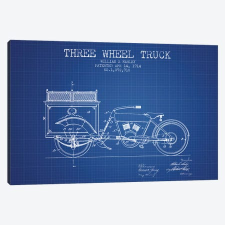 William S. Harley Three Wheel Truck Patent Sketch (Blue Grid) Canvas Print #ADP3160} by Aged Pixel Canvas Art