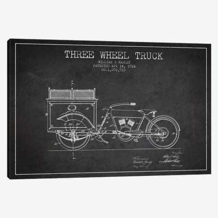 William S. Harley Three Wheel Truck Patent Sketch (Charcoal) Canvas Print #ADP3161} by Aged Pixel Canvas Wall Art