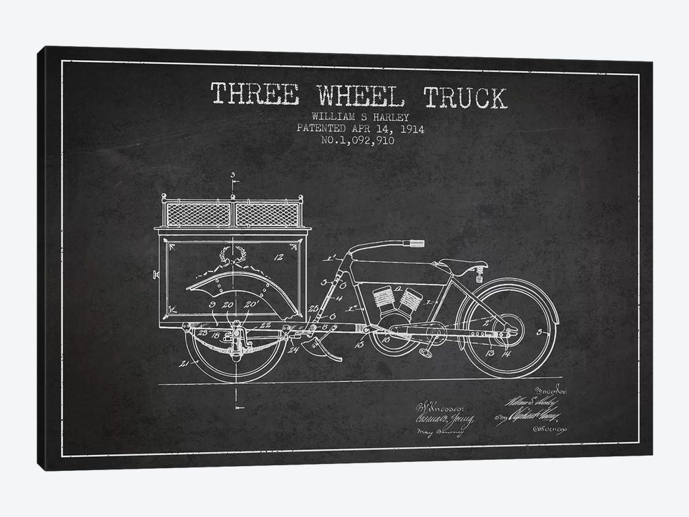 William S. Harley Three Wheel Truck Patent Sketch (Charcoal) by Aged Pixel 1-piece Canvas Artwork