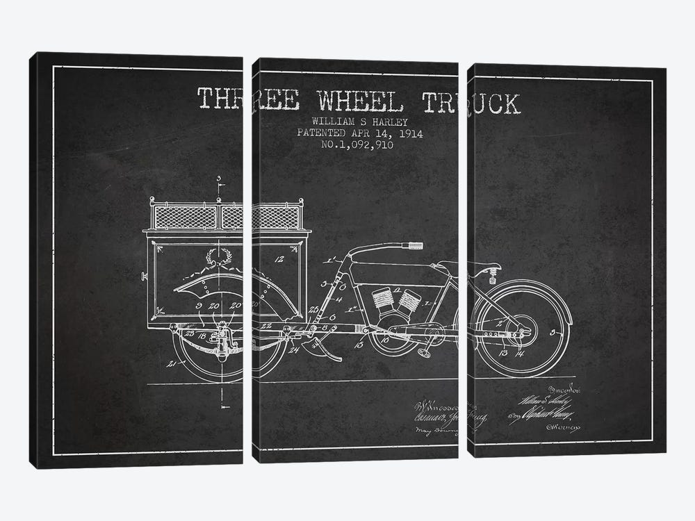 William S. Harley Three Wheel Truck Patent Sketch (Charcoal) by Aged Pixel 3-piece Canvas Artwork