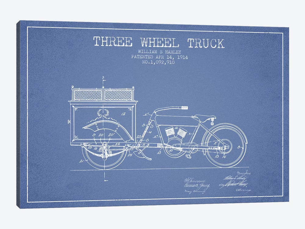 William S. Harley Three Wheel Truck Patent Sketch (Light Blue) by Aged Pixel 1-piece Canvas Art Print