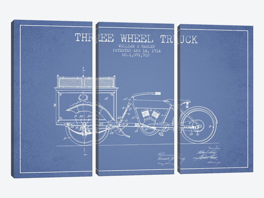 William S. Harley Three Wheel Truck Patent Sketch (Light Blue) by Aged Pixel 3-piece Art Print