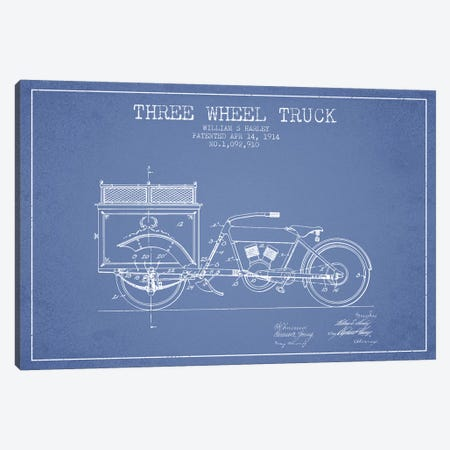 William S. Harley Three Wheel Truck Patent Sketch (Light Blue) Canvas Print #ADP3162} by Aged Pixel Canvas Artwork