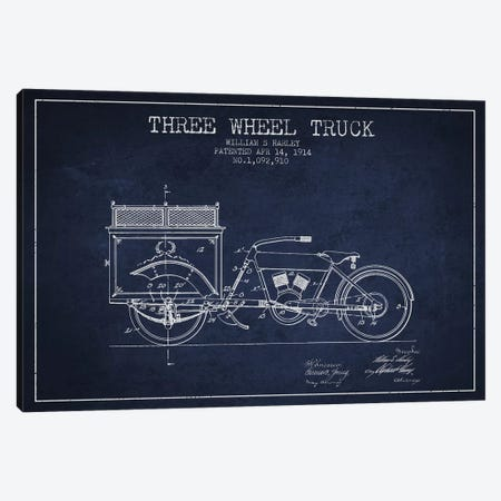William S. Harley Three Wheel Truck Patent Sketch (Navy Blue) Canvas Print #ADP3163} by Aged Pixel Canvas Wall Art