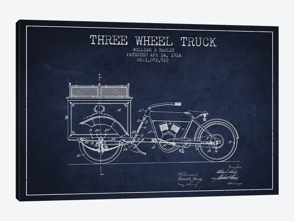 William S. Harley Three Wheel Truck Patent Sketch (Navy Blue) 1-piece Canvas Art