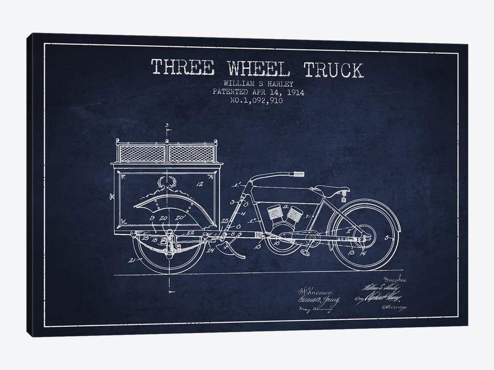 William S. Harley Three Wheel Truck Patent Sketch (Navy Blue) by Aged Pixel 1-piece Canvas Art
