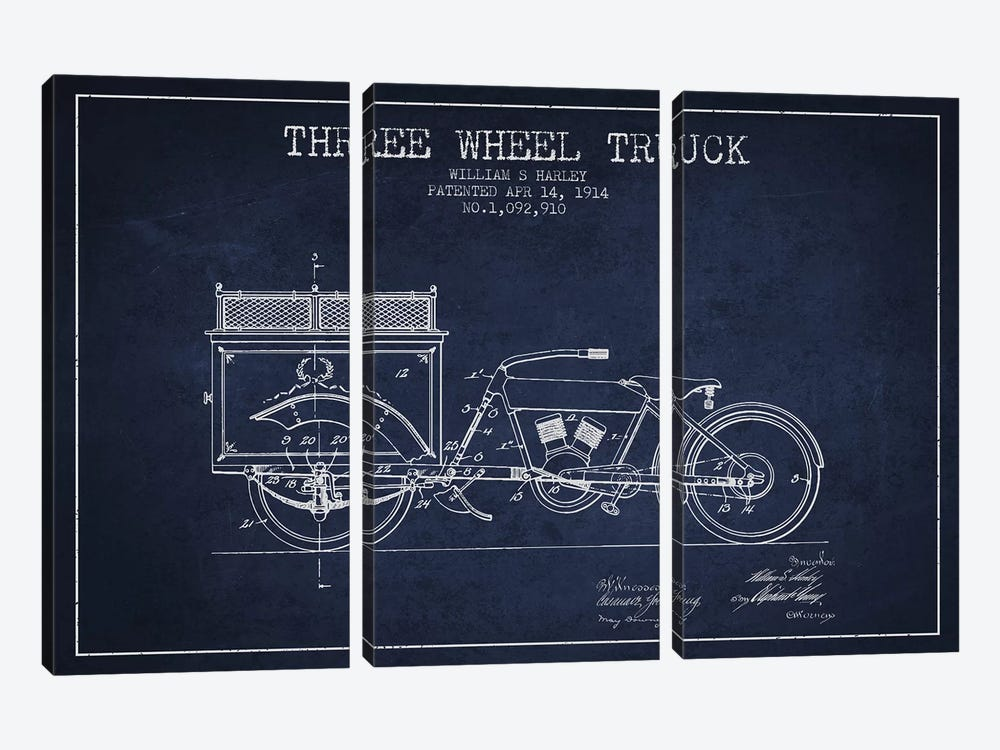 William S. Harley Three Wheel Truck Patent Sketch (Navy Blue) by Aged Pixel 3-piece Canvas Wall Art