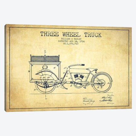 William S. Harley Three Wheel Truck Patent Sketch (Vintage) Canvas Print #ADP3164} by Aged Pixel Canvas Art Print